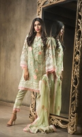 Embroided Organza Shirt Front 1.25 meter Embroided Organza Shirt Back 1.25 meter Embroided Organza Slevees 0.65 meter Dyed Raw SilkTrouser 2.50 meter Chiffon Embroided Dupatta 2.50 meter Embroidery Border On Organza