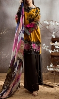 DIGITAL PRINTED VISCOSE SHIRT FRONT 1.25 MTR. DIGITAL PRINTED VISCOSE SHIRT BACK 1.25 MTR. DIGITAL PRINTED VISCOSE SLEEVES 0.65 MTR. DIGITAL PRINTED SILK DUPATTA 2.5 MTR. DYED VISCOSE TROUSER 2.5 MTR. EMBROIDERY BORDER ON ORGANZA