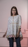 Lawn Short Frock with Embroidered Motives