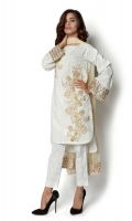 Mixed Cotton Shirt, With Embroidery and Embellished Sleeves  Mixed Chiffon Dupatta  2-Piece Suit