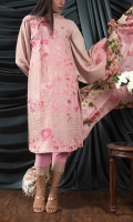 SLUB JAQUARD EMBROIDED SHIRT FRONT 1 MTR SLUB JAQUARD EMBROIDED SHIRT BACK 1 MTR SLUB JAQUARD EMBROIDED SLEVEES .65 MTR DIGITAL PRINTED SILK DUPATTA 2.5 MTR PINK PASTE CAMBRIC TROUSER 2.5 MTR EXTRA EMBROIDERY 2 BUNCH ON ORGANZA EXTRA EMBROIDERY 1 BORDER ON ORGANZA