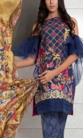 SLUB JAQUARD EMBROIDED SHIRT FRONT 1 MTR SLUB JAQUARD EMBROIDED SHIRT BACK 1 MTR SLUB JAQUARD EMBROIDED SLEVEES .65 MTR DIGITAL PRINTED SILK DUPATTA 2.5 MTR GOLD PASTE CAMBRIC TROUSER 2.5 MTR EXTRA EMBROIDERY 2 BUNCH ON ORGANZA EXTRA EMBROIDERY 1 BORDER ON ORGANZA