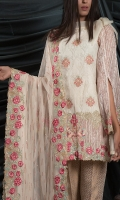 MAYSURI JACQUARD EMBROIDED SHIRT FRONT 1.25 MTR MAYSURI JACQUARD EMBROIDED SHIRT BACK 1.25 MTR MAYSURI JACQUARD EMBROIDED SLEEVES .65 MTR NET EMBROIDED DUPATTA 2.5 MTR JAQUARD GOLD TROUSER 2.5 MTR JAQUARD GOLD TROUSER 2.5 MTR EXTRA EMBROIDERY 2 BUNCHES ON ORGANZA