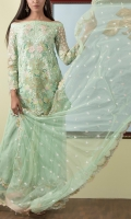 NET EMBROIDED SHIRT FRONT 1 MTR NET EMBROIDED SHIRT BACK 1 MTR NET EMBROIDED SLEVEES .65 NET EMBROIDED DUPATTA 2.5 MTR SLUB RAW SILK DYED TROUSER 2.5 MTR