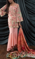 ORGANZA EMBROIDED SHIRT FRONT 1 MTR ORGANZA EMBROIDED SHIRT BACK 1 MTR ORGANZA SLEEVES .65 MTR DIGITAL PRINTED SILK DUPATTA 2.5 MTR GOLD PASTE CAMBRIC TROUSER 2.5 MTR EXTRA EMBROIDERY 3 BORDER ON ORGANZA EXTRA EMBROIDERY 2 BUNCH ON ORGANZA