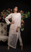 Embroidered  Cotton Net Shirt Front 1.25 mtr. Embroidered  Cotton Net Shirt Back 1.25 mtr. Embroidered  Cotton Net Sleeves 0.65 mtr. Embroidered  Poly Net Dupatta 2.50 mtr. Raw silk Dyed Trouser 2.50 mtr. Embroidery Border On Organza