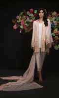 Jacquard Shirt Front 1.15 mtr. Jacquard Shirt Back 1.15 mtr. Jacquard Sleeves 0.65 mtr. Embroidered Poly Net Dupatta 2.50 mtr. Raw silk Dyed Trouser 2.50 mtr. Embroidery Border On Organza