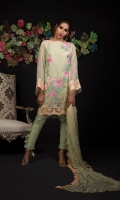 Embroidered Organza Shirt Front 1.25 mtr. Embroidered Organza Shirt Back 1.25 mtr. Embroidered Organza Sleeves 0.65 mtr. Chiffon Embroidered Dupatta 2.50 mtr. Raw silk Dyed Trouser 2.50 mtr. Embroidery Border On Organza