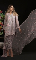 Chiffon Embroidered  Shirt Front 1.25 mtr. Chiffon Embroidered  Shirt Back 1.25 mtr. Chiffon Embroidered  Sleeves 0.65 mtr. Chiffon Embroidered  Dupatta 2.50 mtr. Raw silk Dyed Trouser 2.50 mtr. 2 Embroidery Border On Organza Embroidery Bunch On Organza