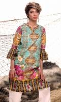 Fabric: Lawn  Color: Sea Green  Y Neckline  Printed front  Embriodered Daman