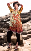 Fabric: Lawn  Color: Brown and Yellow  Round Neckline  Printed front
