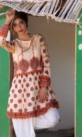 Fabric: Swiss Lawn  Color: Off White  Round Neckline  Printed front  Embellished Sleeves