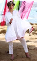 Fabric: Swiss Lawn  Color: White  Collar Neckline  Frock Style shirt