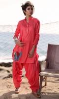 Fabric: Lawn  Color: Pink  2 Piece Shalwar Kameez  Embriodered Front