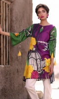 Fabric: Lawn  Color: Purple  Round Neckline  Printed front  Tussled Sleeves