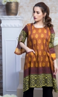 Fabric: Lawn  Color: Mustard Brown  Round neckline  Pockets in the front  Open sleeves with bow