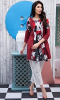 Fabric: Lawn  Color: Red  Boat Neckline with zip  Shoulder zipped sleeves