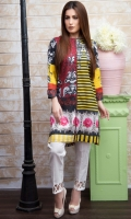 Fabric: Lawn  Color: Red and yellow  Boat Neckline  Printed front
