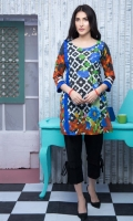 Fabric: Lawn  Color: Blue  Round neck  Frills on the side  3/4 sleeves with frills