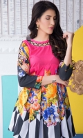 Fabric: Lawn  Color: Pink  Round embellished neckline  Frock Style Tunic  Open cut sleeves
