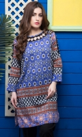 Fabric: Lawn  Color: Blue  Boat neck with embellished neckline with organza  Open cut sleeves