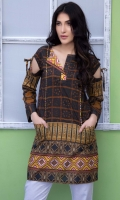 Fabric: Lawn  Color: Brown  Boat neck with one sided open neckline  Pockets in the front  Bow Sleeves