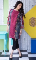 Fabric: Lawn  Color: Pink and Black  Round Neck  Printed front with side panel bow