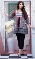Fabric: Lawn  Color: Red  Squared Neck . Frock Style Tunic