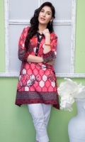Fabric: Lawn  Color: pink  Round Neckline with buttons  Print front