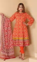 Printed flared shirt with embellished buttons and chiffon printed tasseled dupatta with straight trouser in regular fit.