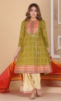 printed angrakha shirt with hand embellished buttons and printed lawn tasseled dupatta.