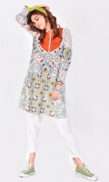 printed tunic with solid color front yoke