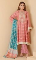 Embroidered and embellished printed flared shirt with printed chiffon tasseled dupatta with straight trouser.