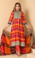 Printed and embellished flared shirt with printed lawn tasseled dupatta and straight trouser in regular fit.