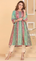 printed and embellished cotton silk gatherd frock with embellished yoke and sleeves.