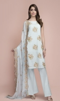 Dyed & Embroidered Swiss Lawn Shirt Front(1.25m) Dyed & Embroidered Swiss Lawn Shirt Back(1.75m) Dyed & Embroidered Chiffon Dupatta(2.50m) Dyed Cambric Shalwar(2.50m)