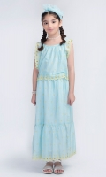 Dyed & Embroidered long Frock With Scallops