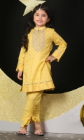 gold paste printed kurta with dori work embroiderey details paired with trouser
