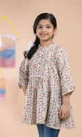 Printed Top with Frill & Pleat