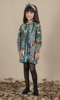 Printed Shift Dress with Ruffles on Neck line