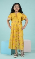 Printed & Pin Pleated long frock with Ribbon Tassel