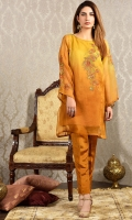 2pc -Embroidered and embellished Organza shirt with silk trouser.