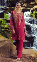 Silk Net Shirt With Heavy Hand Embroidery