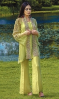 Organza self embroidered Shirt with heavy hand embroidery cottonsilk under shirt and zari Jacquard trouser