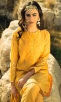 Paper silk block printed & embellished shirt, Raw silk embellished trouser, chiffon block printed embellished & crushed dupatta