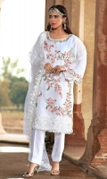 Heavily Embroidered & Embellished Organza Shirt with Lining Raw Silk Trouser Polynet Embroidered Dupatta