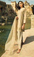 Dyed & Embellished Paper Silk Shirt, Dyed & Embroidered Organza Duppatta, Dyed Cotton Silk Linning and Dyed PK Raw Silk Shalwar