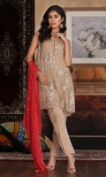 Embroidered chiffon shirt paired with plain raw silk trouser and embroidered dupatta (shirt comes with separate fully embroidered sleeves).