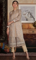 Hand embellished printed gown with Plain silk inner shirt and trouser