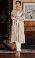 Heavily embroidered gown with plain inner and trouser